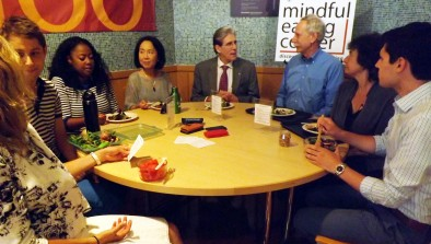 HSPH Dean Julio Frenk joins Lilian Cheung, Professor Walter Willett and others at the Mindful Eating Corner