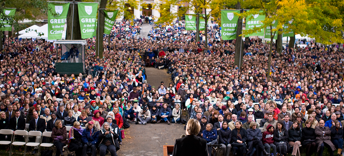 In October 2008, President Faust hosted a Sustainability Celebration to rally the community around Harvard's greenhouse gas reduction goal—15,000 people attended, and Vice President and Nobel Laureate Al Gore delivered the keynote address. One bag of trash was created.