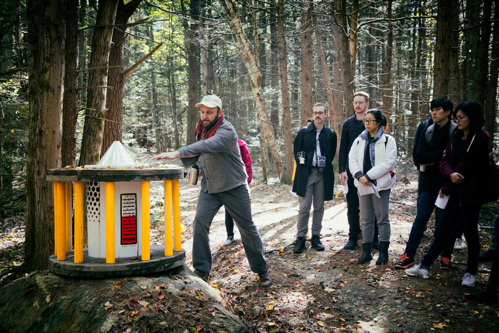Artist David Buckley Borden discusses his climate change-themed installation at Harvard Forest. Photo by Maggie Janik