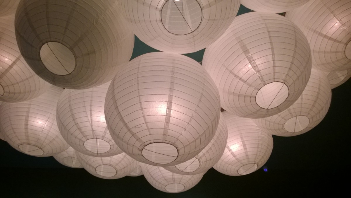 A decorative light fixture at a Japanese restaurant near our hotel.