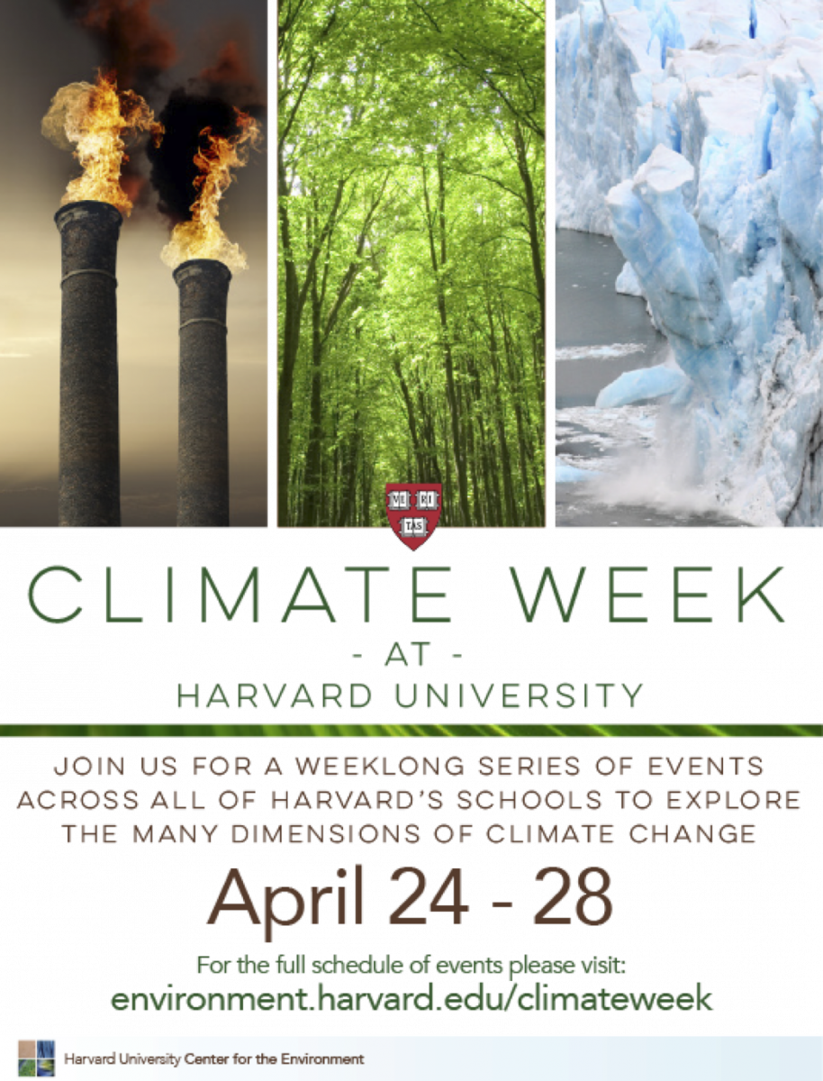 Marketing material that was used to advertise Harvard Climate Week 2017.