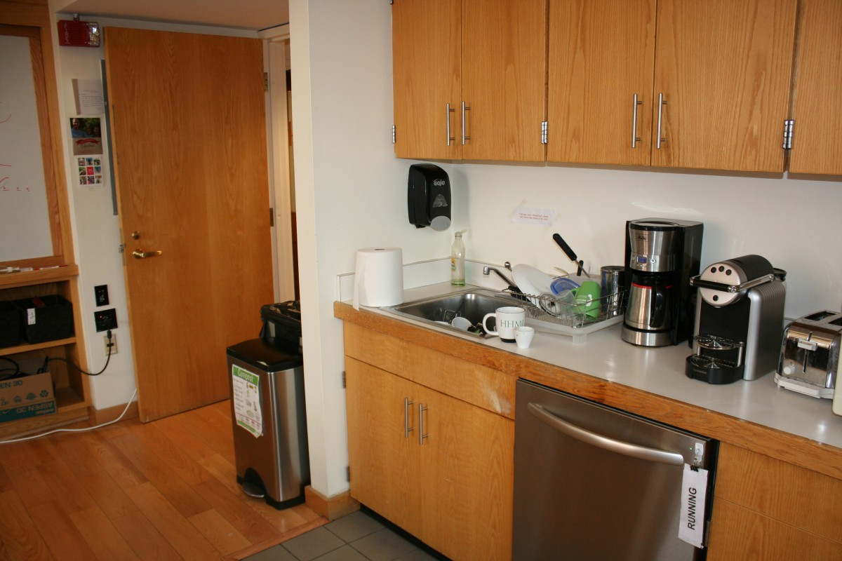 The group's kitchenette includes composting and all reusable dishware and utensils complete with a researcher dishwasher schedule!