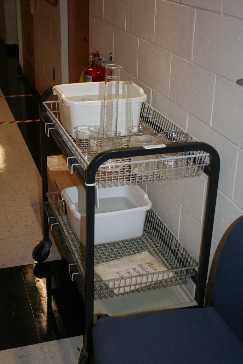 The Dulac lab initiated a two stream glass and plastic washing system to reduce the volume that is autoclaved.