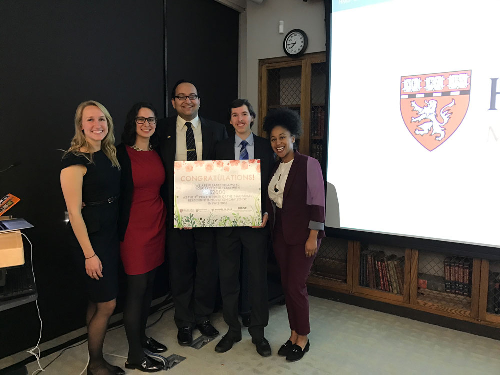 From left to right: Alyssa Curran, GSD, Shoshanna Levine, Harvard Chan School, Bhargav Srinivasan, HBS, HLS, Daniel Sherman, College, Meghan Venable-Thomas, Harvard Chan School