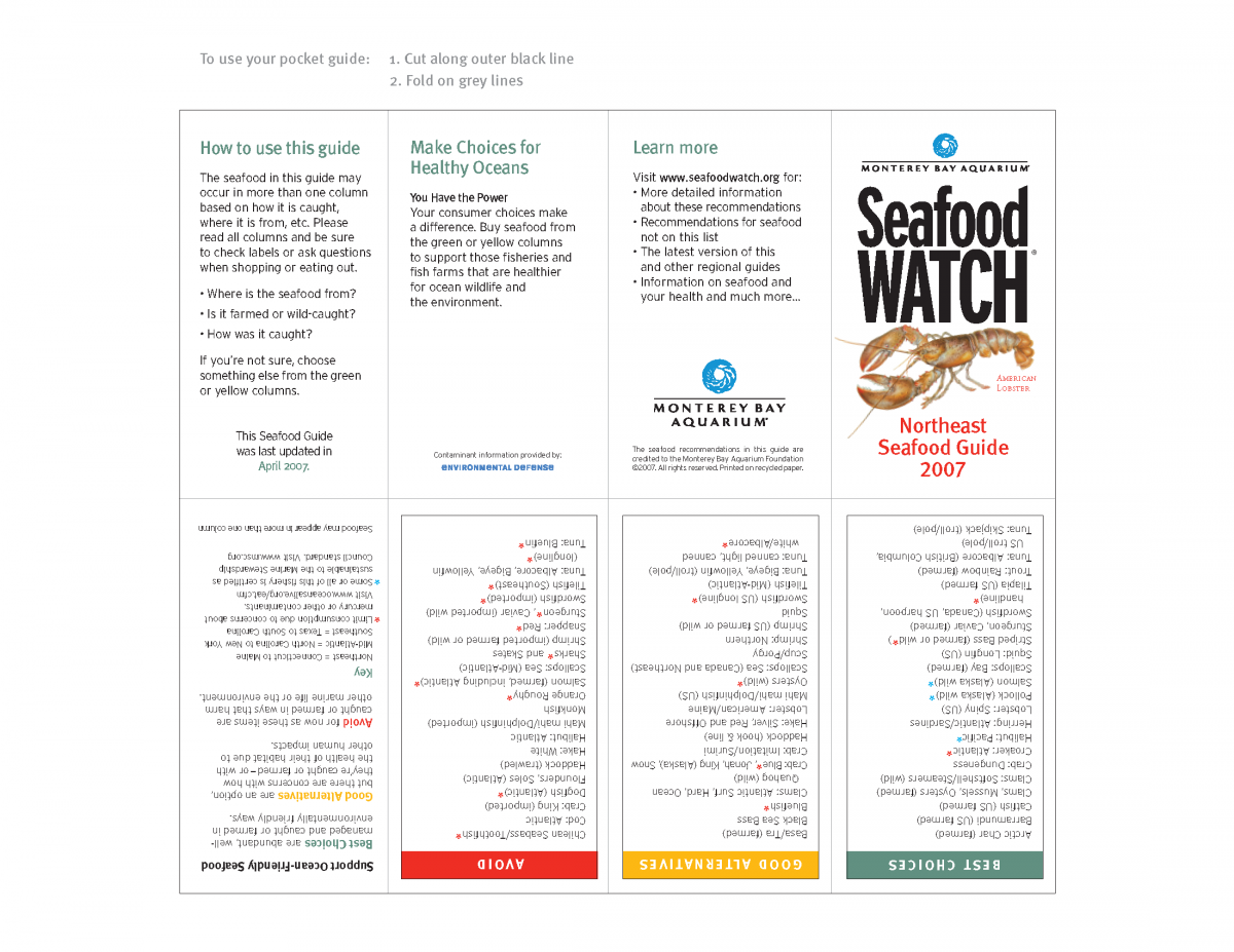 Northeast Seafood Pocket Guide