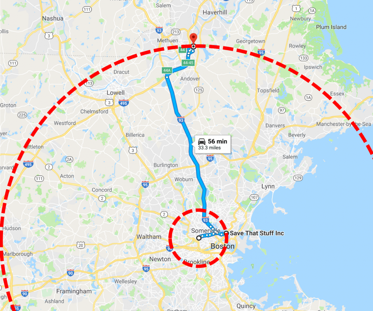 Distance from Harvard University to Save That Stuff and GLSD.