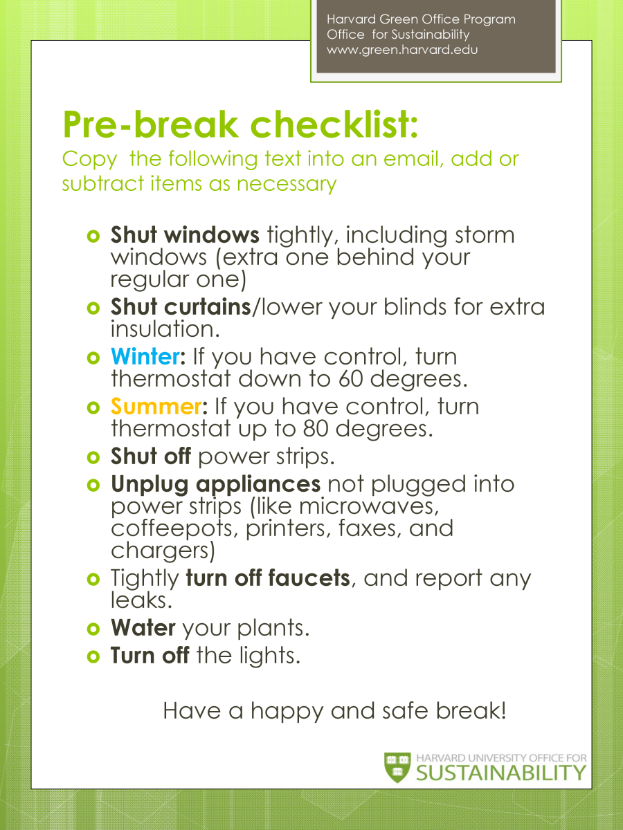 Pre-break Checklist