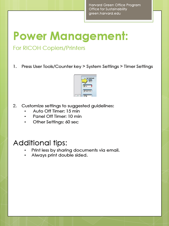 Power management for RICOH copiers/printers