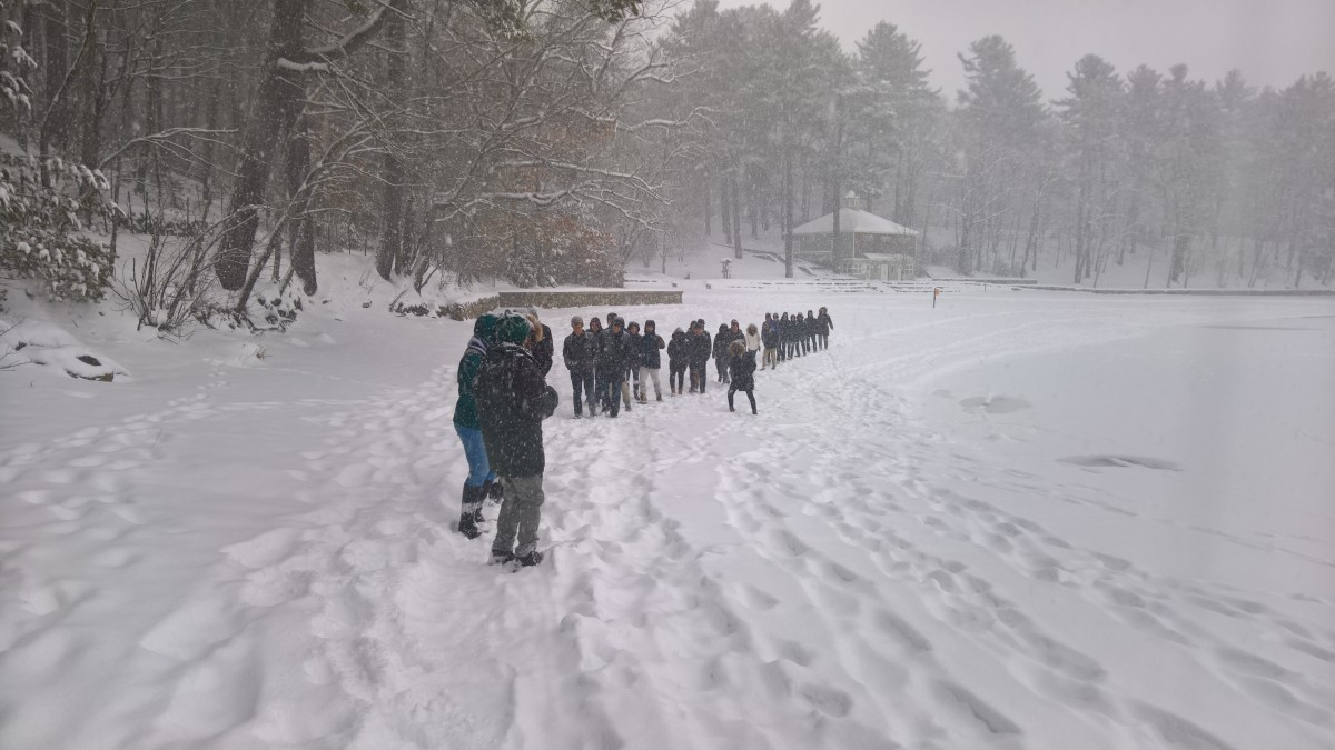 Students in Expository Writing visit Walden Pond, February 2017. Photo by Martin Greenup