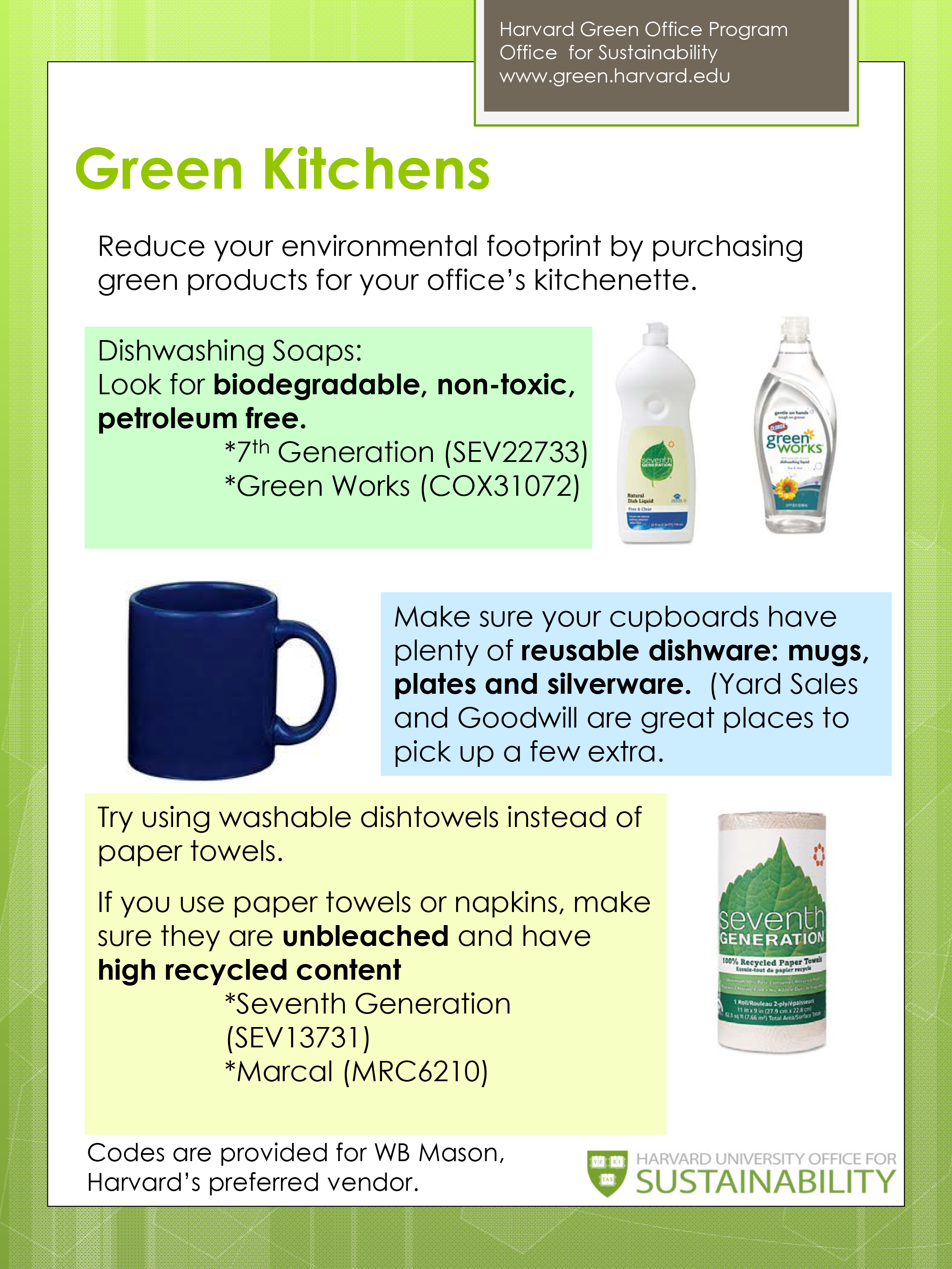 Green your office kitchen sustainability at harvard for Green building features checklist
