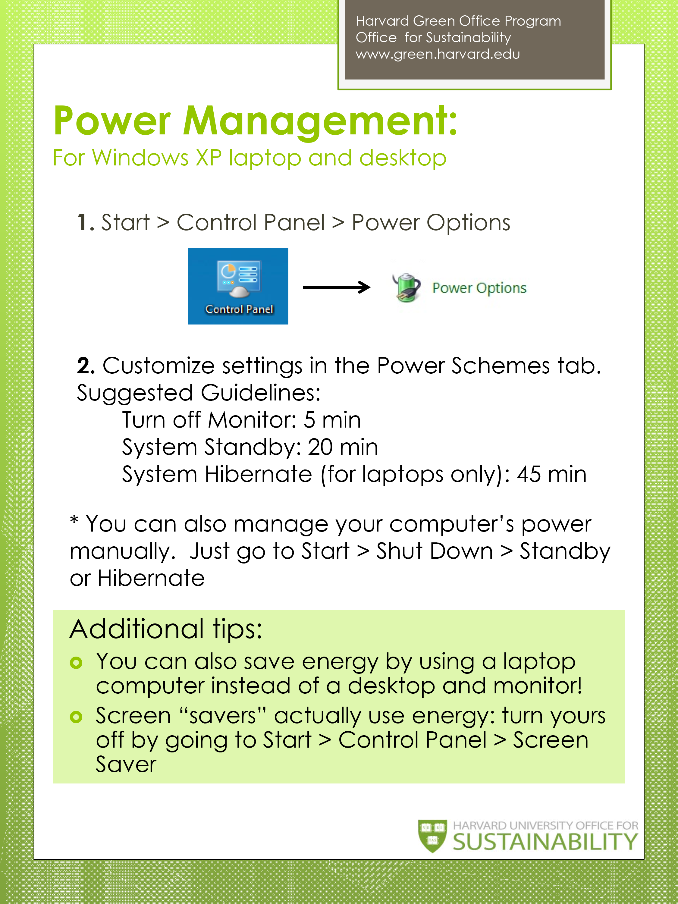 Power Management For Windows Computers Sustainability At